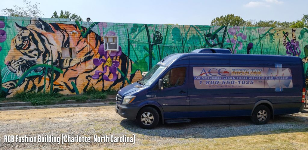 ACC Medlink Van for Long Distance Medical Transport in front of the RCB Fashion Building in Charlotte, North Carolina.