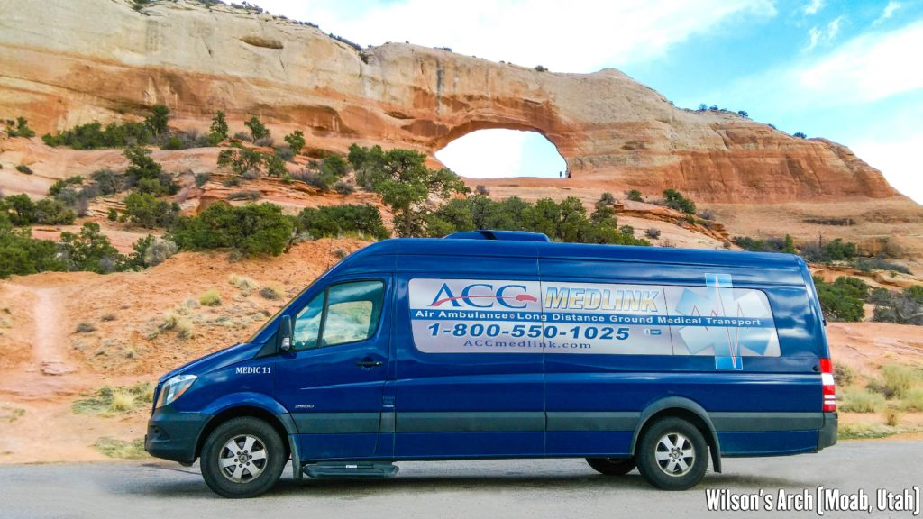 Medical Transportation Van at Wilson's Arch in Moab, Utah.