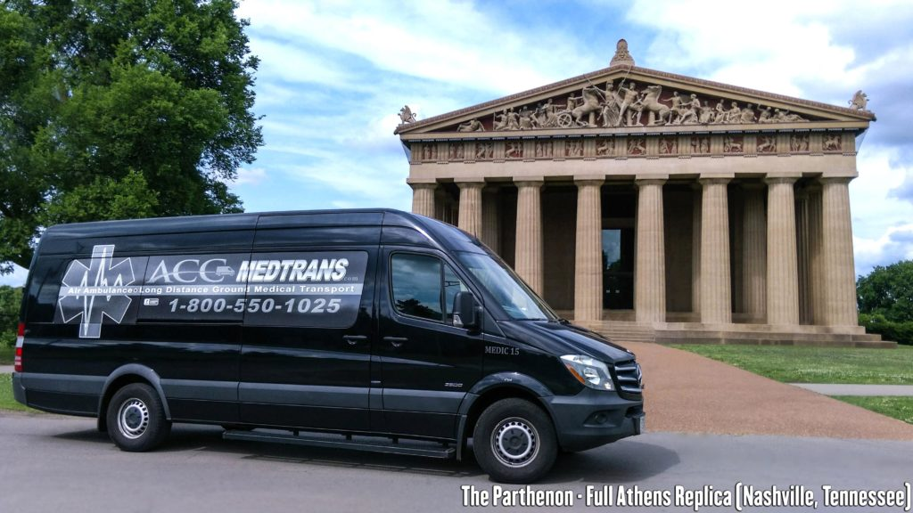 Long Distance Medical Transport Van in front of The Parthenon Replica in Nashville, Tennessee