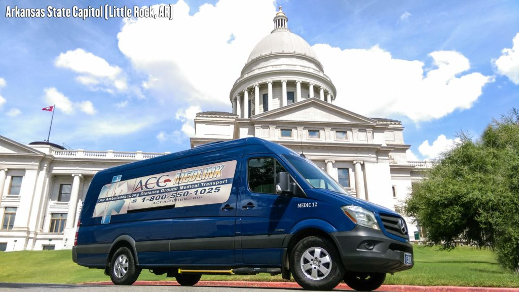 Long Distance Medical Transportation Van 12 at Arkansas State Capitol.
