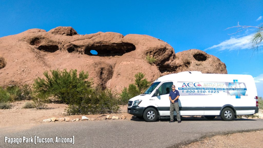 Long Distance Medical Transport Van in Tucson, Arizona.