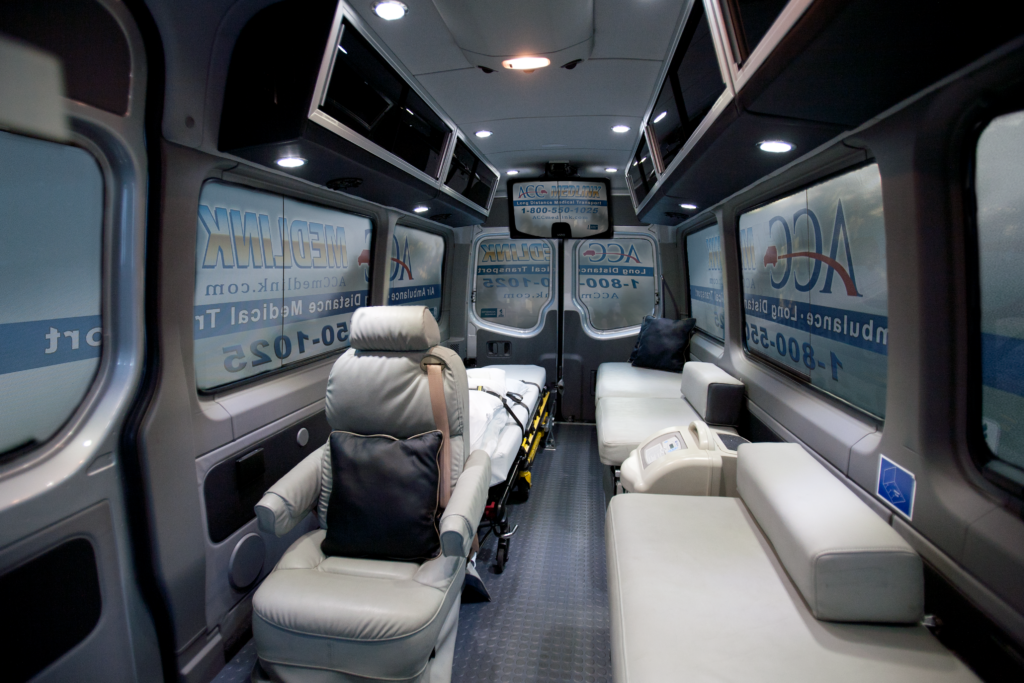 Medical Transportation in Luxury and Comfort. Inside Image of our Medical Transport Vehicle!