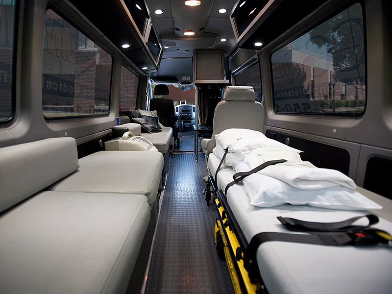 Inside Back of an ACC Medlink Medical Transporter